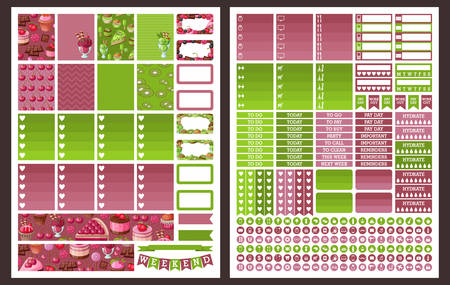 weekly planner: Planner Stickers. Vector set Illustration