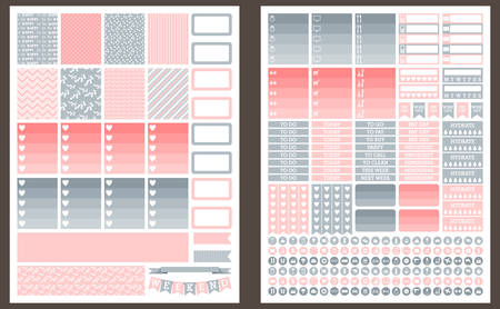weekly planner: Grey and pink vector printable stickers for planner Illustration
