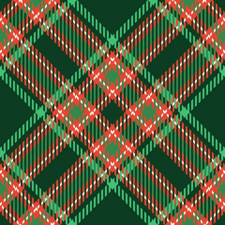 red green: Christmas tartan seamless vector patterns in grin and red colors