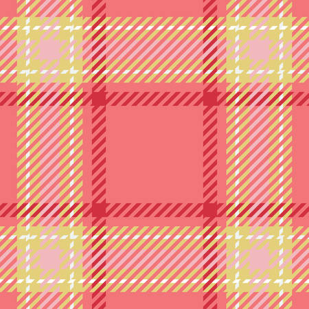 Tartan seamless vector patterns in pink-yellow  colors