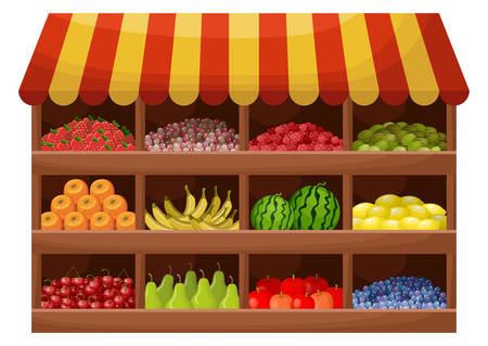 Fruit farmer shop. Counter with products. Vector Illustration