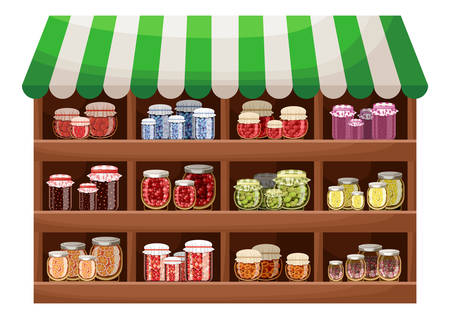 Farmer shop of berry jam. Counter with products. Vector