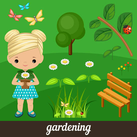 ladybird: Cute vector girl holding flower in garden. Vector illustration Illustration
