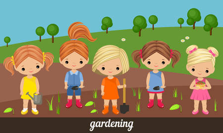 the sprouting: Five lovely girls gardeners on a kitchen garden