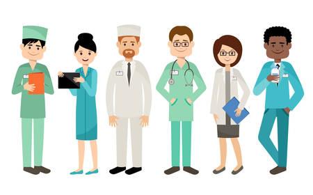 Set van artsen, medisch team. Vector illustratie