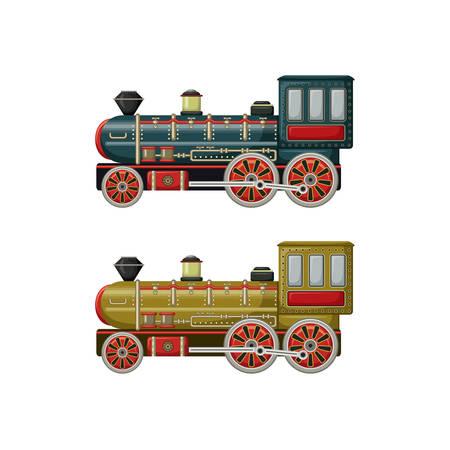 Oud uitstekend vectorspeelgoed twee motoren op de witte achtergrond Stock Illustratie