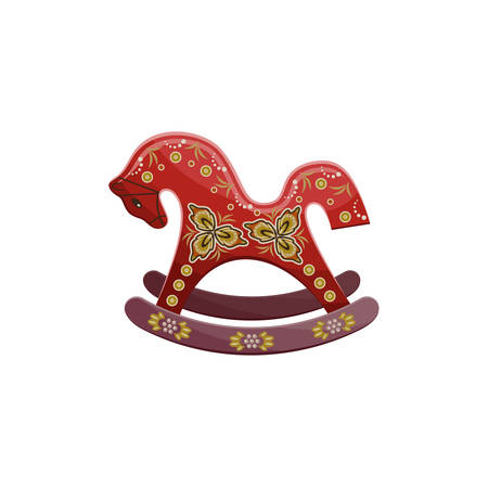 Old vintage vector horse rocking chair on the white background