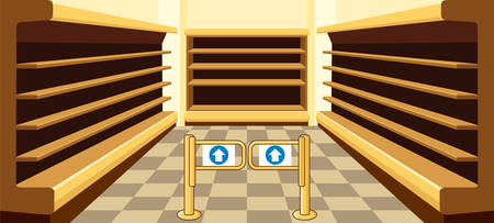 Lege planken van een supermarkt. Show-ramen. Interieur van de winkel. Vector Stock Illustratie