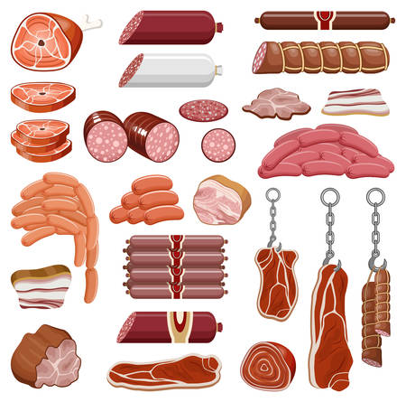 Set of meat products on a white background vector isolated