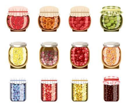 Glaspotten met fruit en bessenjam. Vector
