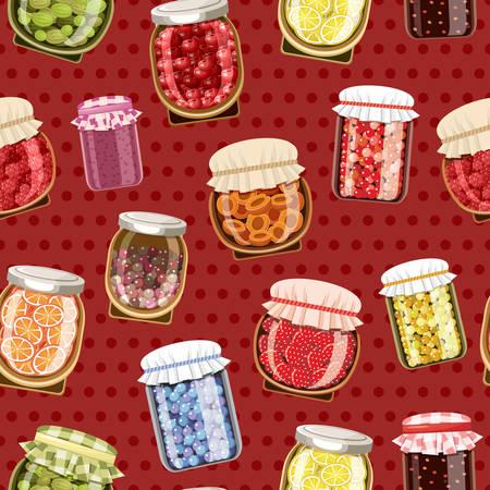 Naadloos patroon met fruit en bessenjam