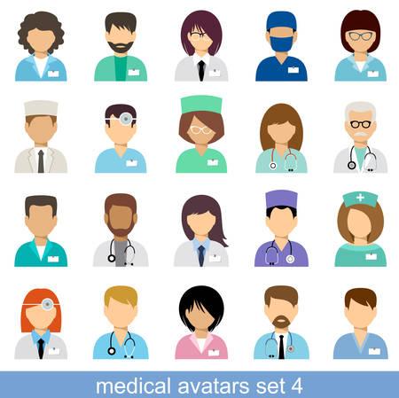 Medische avatars, team van artsen. Vector Stock Illustratie