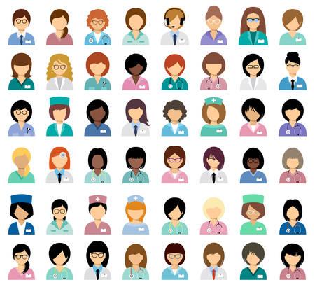 Vrouwelijke medische avatars, team van artsen. Vector Stock Illustratie