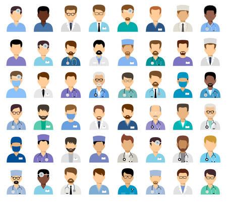 Medische avatars voor mannen, team van artsen. Vector