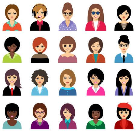 Vrouwenavatar reeks op witte achtergrond wordt geïsoleerd die. vector Stock Illustratie