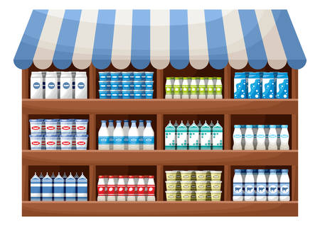 exposición: Dairy product farmer shop. Counter with products. Vectores