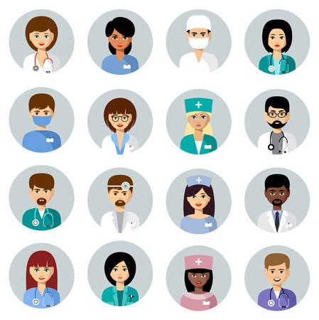 Set van medische avatars in een cirkel. Team van artsen. Vector