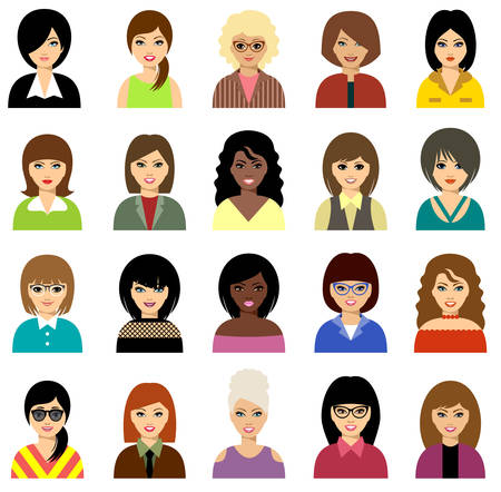 Woman avatar vector set. Portraits of young girls with different hairstyles Ilustração