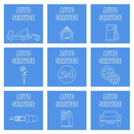 Overzicht stel autoservice pictogrammen in. Vector illustratie Stock Illustratie