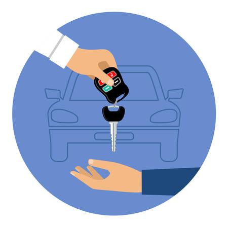 Car rental round blue icon. Vector illustration