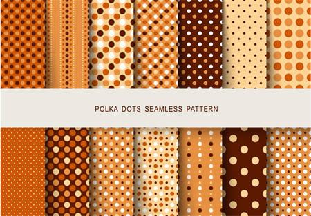 Naadloze patronen herfst polka dots ingesteld. Vector illustratie