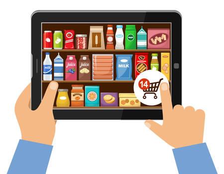 Online winkel van voedsel concept. Vector illustratie