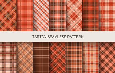 Patrones de vectores sin fisuras tartán en colores marrón y rojo. Ilustración vectorial