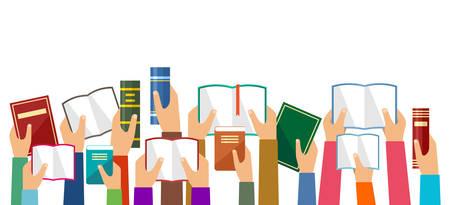 Handen houden boeken. Vector illustratie
