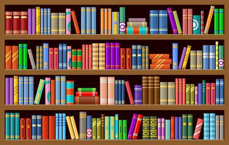 Boekenkast met boeken. Vector illustratie