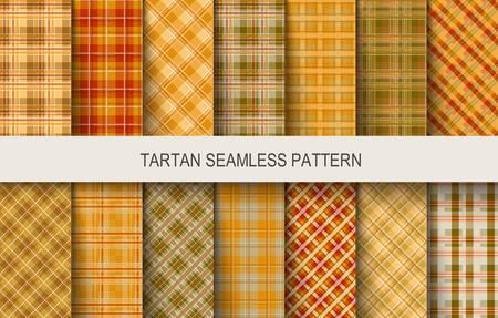 Tartan naadloze vectorpatronen in bruine en oranje kleuren. Vector illustratie Stock Illustratie