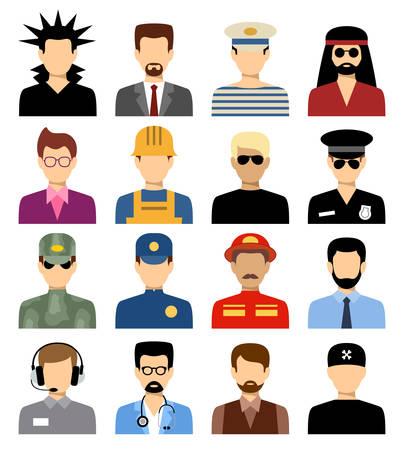 Geïsoleerde avatars voor mannen van verschillende beroepen. Vector Stock Illustratie