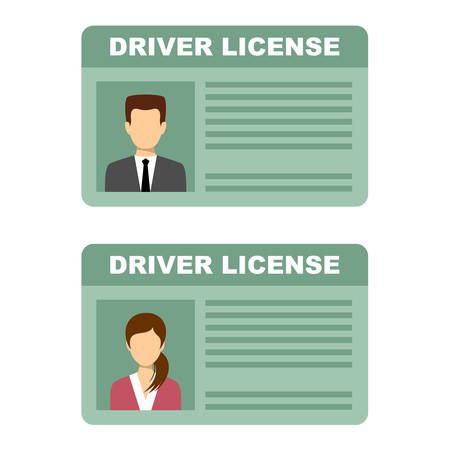 Driving license of the man and woman. Vector