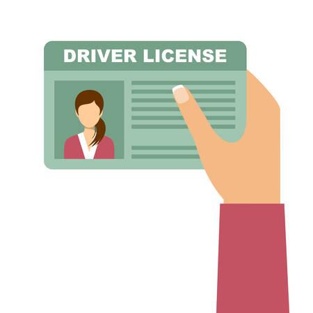 Vrouw hand met auto rijbewijs. Vector