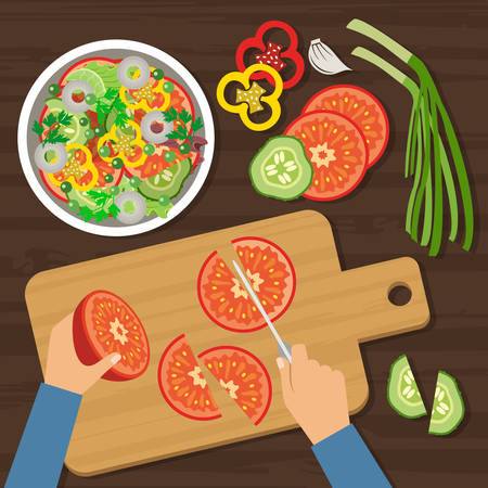Bovenaanzicht koken. Snijden van salade. Vector Stock Illustratie