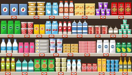 Supermarkt, planken met producten en drankjes. Vector
