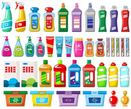 Reeks huishoudenchemische producten en reinigingsmachines op een witte achtergrond. Stock Illustratie