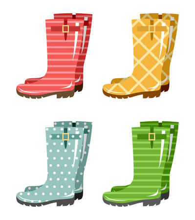 Set of gumboots on a white background. Autumn footwear. Vector