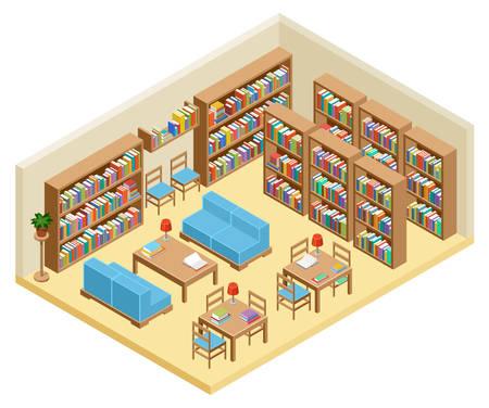 Isometrische hal van bibliotheek, boekenplanken. Vector illustratie Stock Illustratie