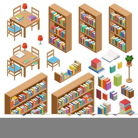 Set isometrisch meubilair voor bibliotheek, boeken. Vector illustratie