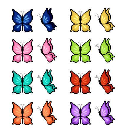 Vlinders van verschillende kleuren op een witte achtergrond. Vector illustratie Stock Illustratie