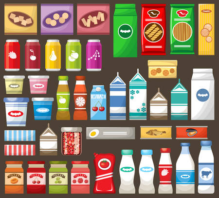 Set of different products on the dark background. Vector