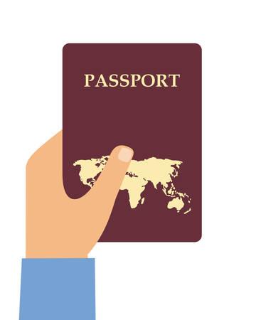 Hand met het paspoort op een witte achtergrond. Vector illustratie
