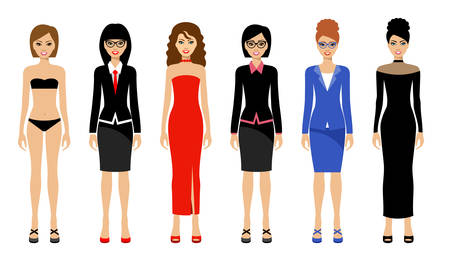 Modieuze vrouwen op een witte achtergrond. Vector illustratie Stock Illustratie