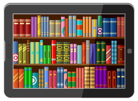 Online bibliotheekconcept, tablet met boekenplanken. Vector illustratie
