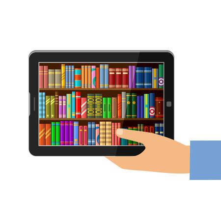 De tablet van de handholding met digitale boeken, online onderwijsconcept, bibliotheek. Vector illustratie