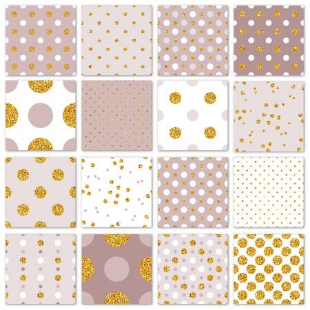 Naadloze patronen gouden stippen instellen. Vector illustratie