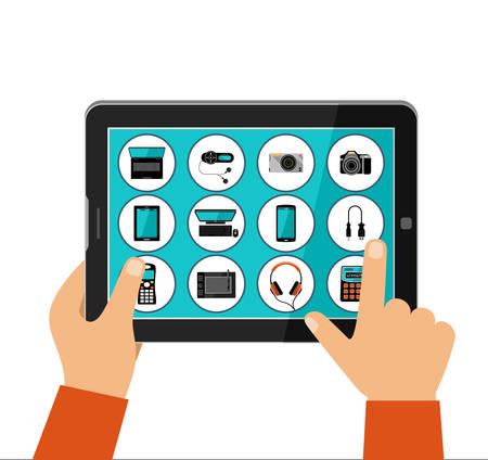 Online winkel van huishoudelijke apparaten, concept. Vector illustratie