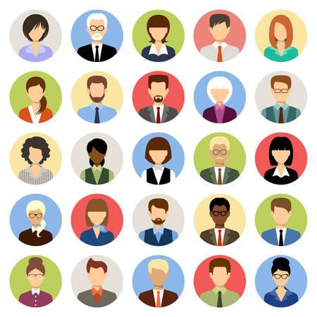 Mensen uit het bedrijfsleven avatars in een cirkel. Kantoor voor vrouwen en mannen. Vector