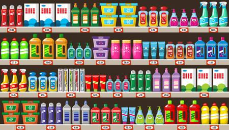 Planken met huishoudelijke chemicaliën in winkel. Vector illustratie