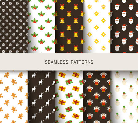 Seamless New Years patterns brown and white. Vector illustration Stock Illustratie